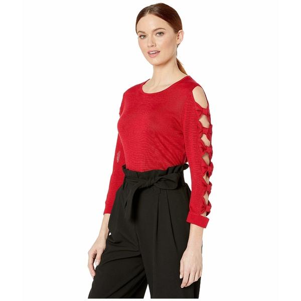 セセ レディース ニット&セーター アウター Long Sleeve Crew Neck Sweater with Bows Ribbon Red
