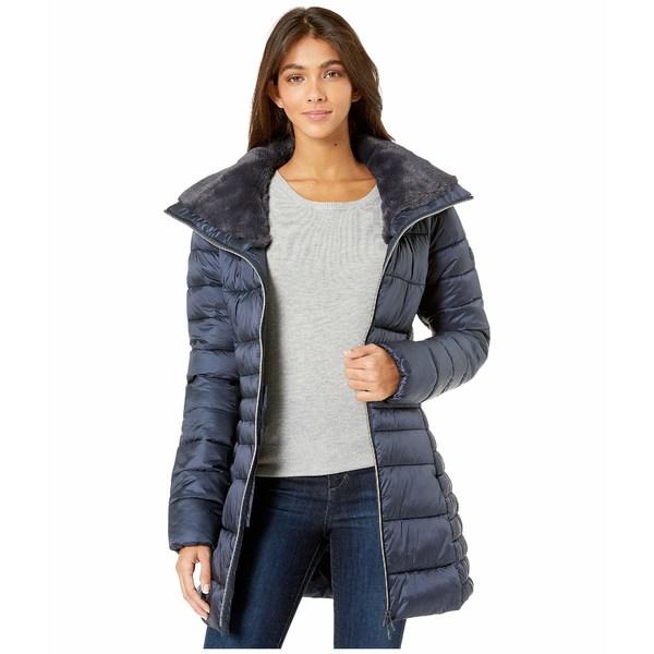 セーブザダック レディース コート アウター Iris 9 Puffer Coat with Faux Fur Lined Collar Blue/Black