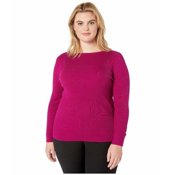 ラルフローレン レディース ニット&セーター アウター Plus Size Puff-Sleeve Boat Neck Sweater Bright Claret