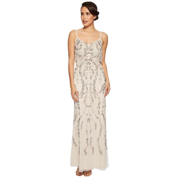 アドリアナ パペル レディース ワンピース トップス Floral Beaded Blouson Gown Ivory Multi