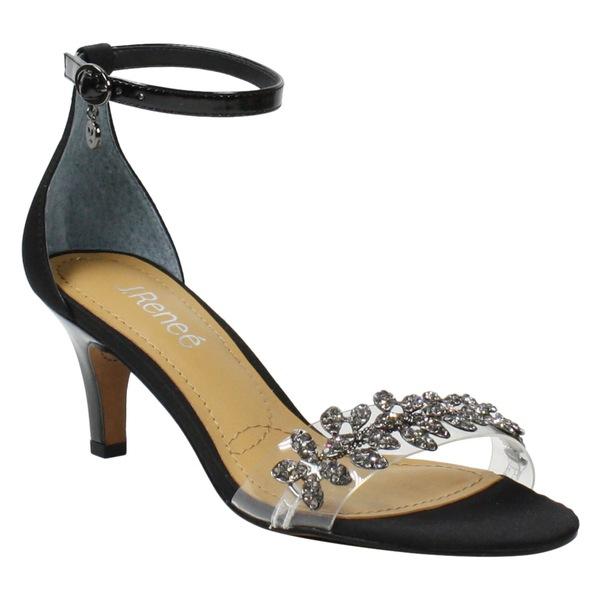 ジェイレニー レディース サンダル シューズ J.Rene Hartleigh Ankle Strap Sandal (Women) Black Satin