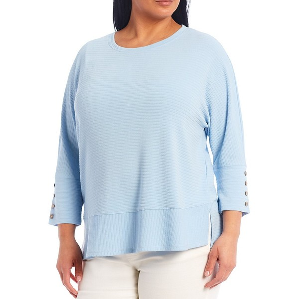 3/4 Plus Cerulean Sleeve Top ウェストボンド Cuff Button レディース Tシャツ Size トップス