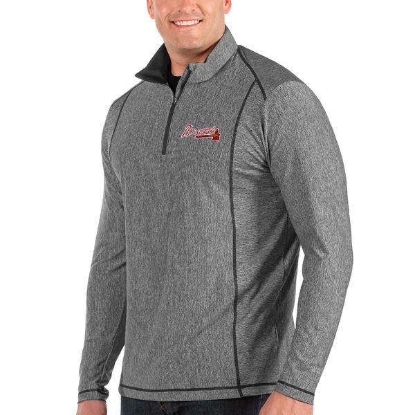 アンティグア メンズ ジャケット&ブルゾン アウター Atlanta Braves Antigua Tempo Big & Tall HalfZip Pullover Jacket Heather Gray
