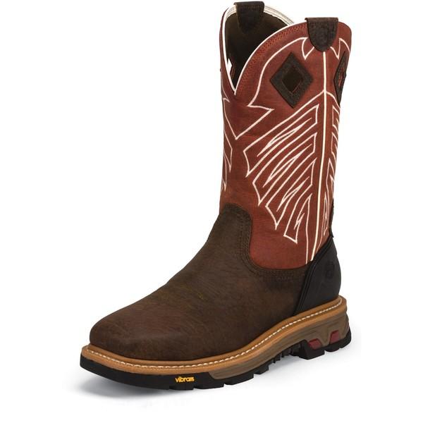 Justin メンズ 訳あり品送料無料 シューズ ブーツ レインブーツ Brown 全商品無料サイズ交換 ジャスティン Steel Western Waterproof Work Roughneck Boots Toe 開催中 Men's