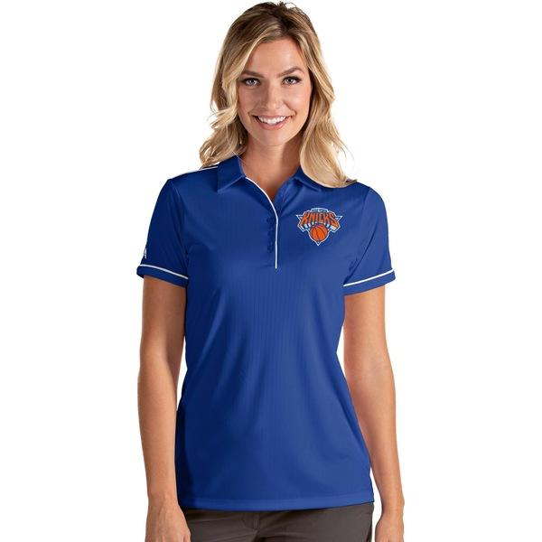 Antigua レディース トップス ポロシャツ Blue スーパーセール期間限定 White 全商品無料サイズ交換 アンティグア Shirt Knicks Women's New York 驚きの価格が実現 Polo Salute