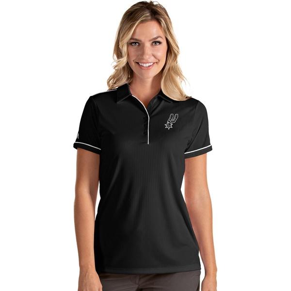 売買 Antigua レディース トップス ポロシャツ Black White 全商品無料サイズ交換 アンティグア Spurs Shirt San Women's Polo 無料 Antonio Salute