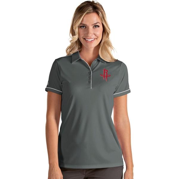 Antigua 上品 レディース トップス ポロシャツ Gray 買い物 White 全商品無料サイズ交換 Houston Shirt Salute Rockets アンティグア Women's Polo
