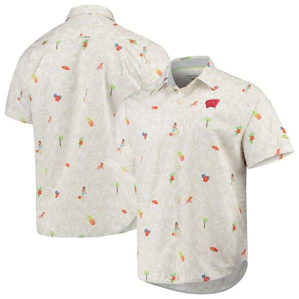 トッミーバハマ メンズ シャツ トップス Wisconsin Badgers Tommy Bahama College BeachCation ButtonUp Shirt White
