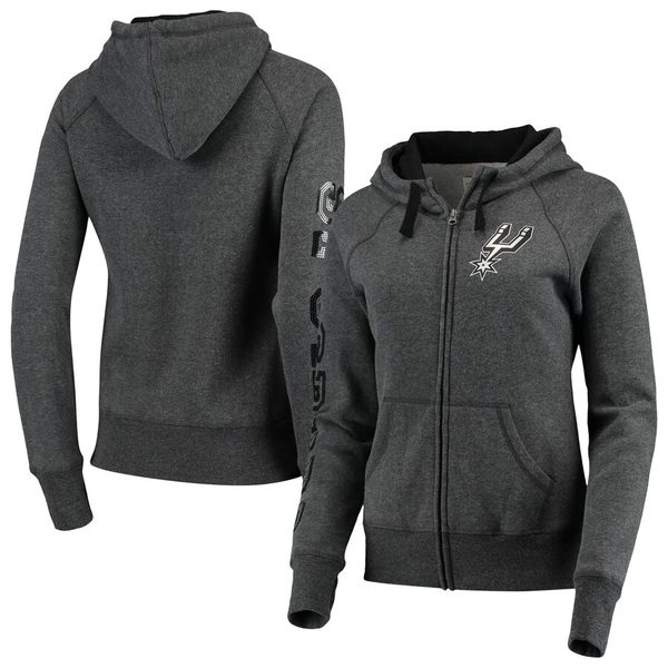 カールバンクス レディース ジャケット&ブルゾン アウター San Antonio Spurs G-III 4Her by Carl Banks Women's Playoff Suede Fleece Full-Zip Jacket Charcoal/Black