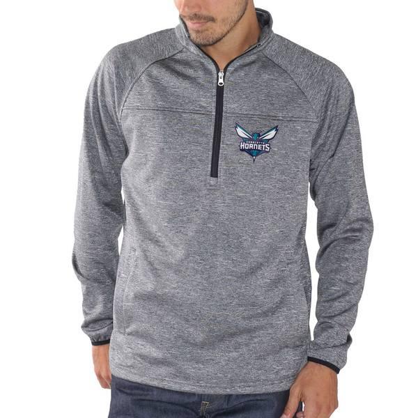 カールバンクス メンズ ジャケット&ブルゾン アウター Charlotte Hornets G-III Sports by Carl Banks Franchise Half-Zip Pullover Jacket Charcoal