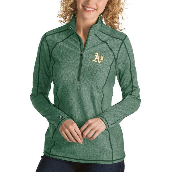 アンティグア レディース ジャケット&ブルゾン アウター Oakland Athletics Antigua Women's Tempo Desert Dry 1/4-Zip Pullover Jacket Heathered Green