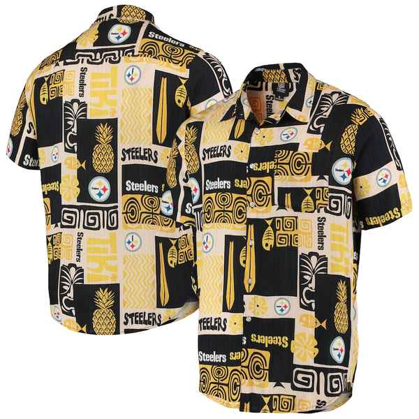 フォコ メンズ シャツ トップス Pittsburgh Steelers Tiki Floral Button-Up Woven Shirt Black/Tan