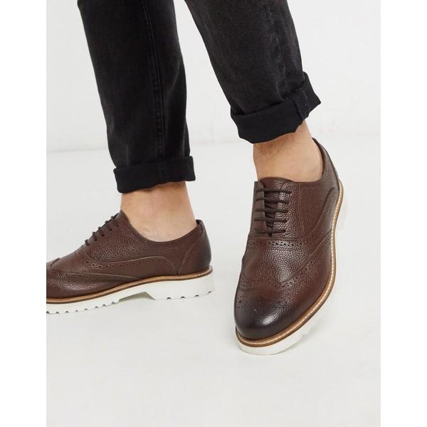 ベンシャーマン メンズ スニーカー シューズ Ben Sherman leather chunky brogue shoe in brown Brown