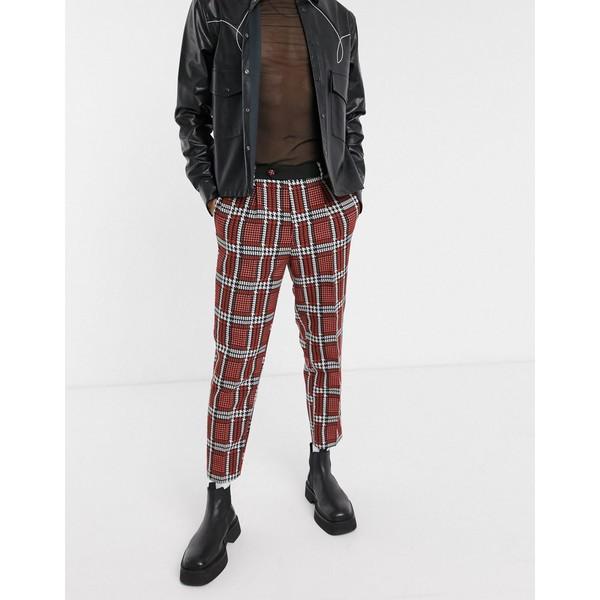 エイソス メンズ カジュアルパンツ ボトムス ASOS EDITION tapered suit pants with check jacquard Red