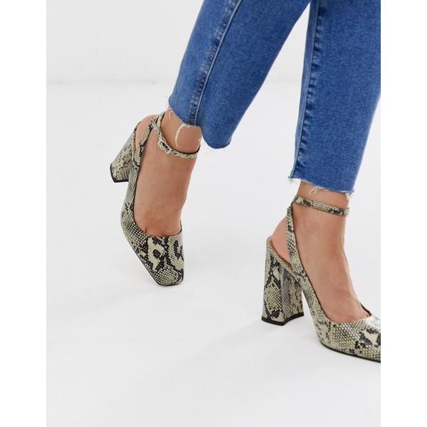 エイソス レディース スニーカー シューズ ASOS DESIGN Puddle square toe block heeled high shoes in snake Natural snake