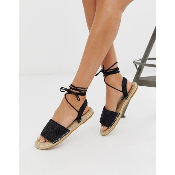 エイソス レディース サンダル シューズ ASOS DESIGN Josy woven espadrille flat sandals in black Black