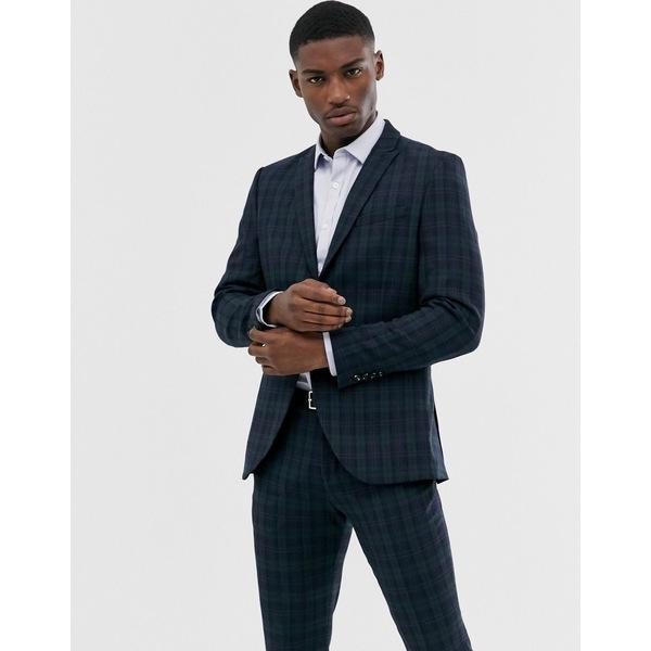 セレクテッドオム メンズ ジャケット&ブルゾン アウター Selected Homme black watch check suit jacket in navy Navy blue