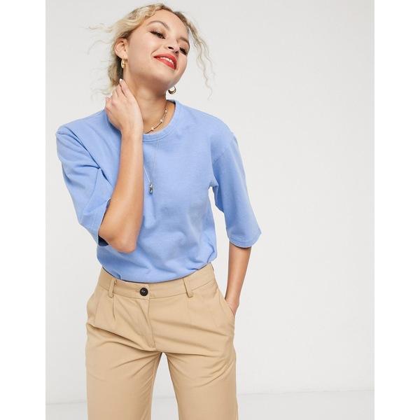 アンドアザーストーリーズ レディース Tシャツ トップス & Other Stories organic cotton round neck t-shirt in blue Blue