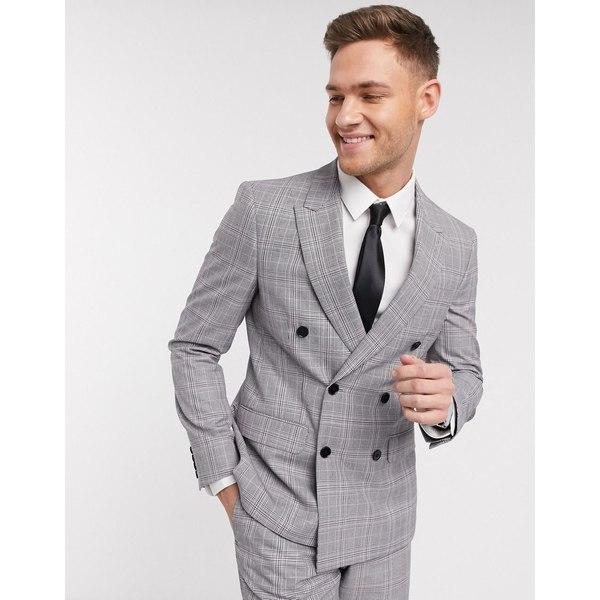 モスブロス メンズ ジャケット&ブルゾン アウター Moss London eco double breasted suit jacket in gray and pink check Raspberry