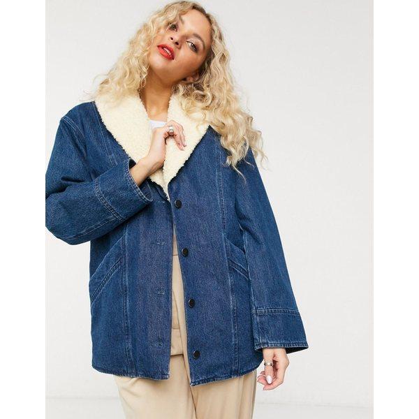 アンドアザーストーリーズ レディース コート アウター & Other Stories denim faux shearling trim overcoat in blue Blue wash