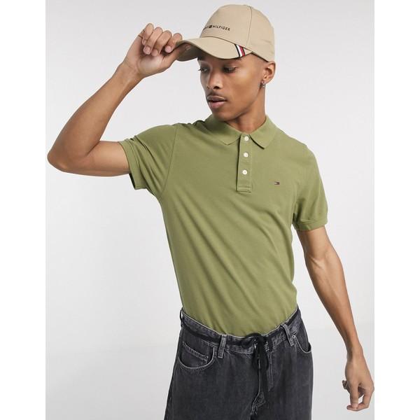 トミーヒルフィガー メンズ ポロシャツ トップス Tommy Jeans flag logo pique polo slim fit in olive green Uniform olive