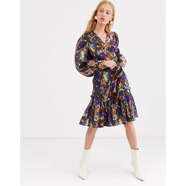 アンドアザーストーリーズ レディース ワンピース トップス & Other Stories Capsule blurred floral puff sleeve mini dress in multi Aop