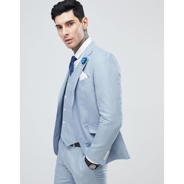 ジアーフラウド メンズ ジャケット&ブルゾン アウター Gianni Feraud Wedding Slim Fit Linen Plain Suit Jacket Blue