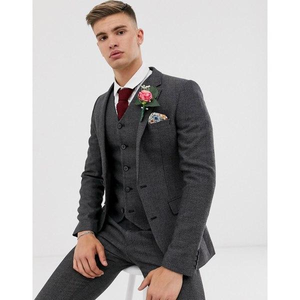 エイソス メンズ ジャケット&ブルゾン アウター ASOS DESIGN wedding super skinny suit jacket in charcoal herringbone Charcoal