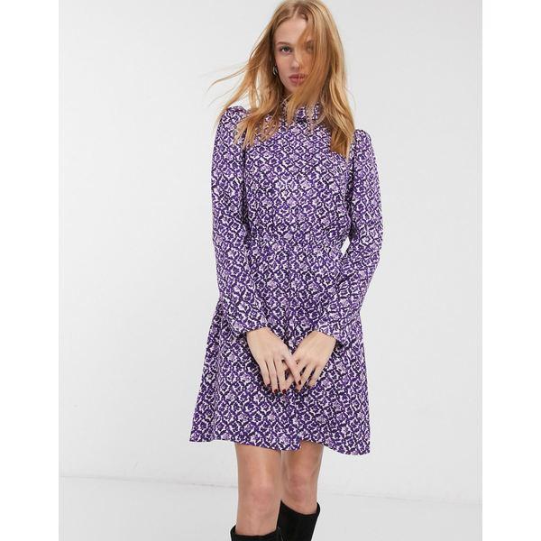 アンドアザーストーリーズ レディース ワンピース トップス & Other Stories floral print high neck mini dress in purple Floral print