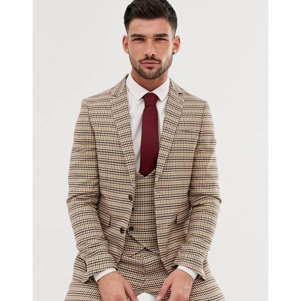 ジアーフラウド メンズ ジャケット&ブルゾン アウター Gianni Feraud skinny fit dog tooth check suit jacket Brown