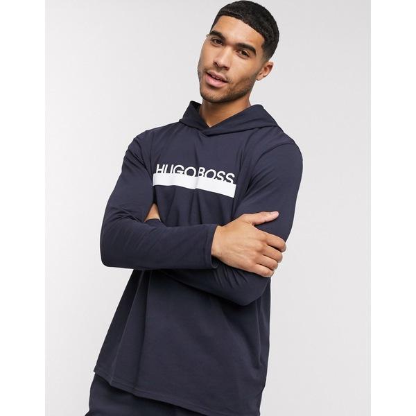 信頼 ボス メンズ アウター パーカー スウェットシャツ Navy 全商品無料サイズ交換 BOSS 激安通販販売 two-piece hoodie bodywear navy logo in Identify