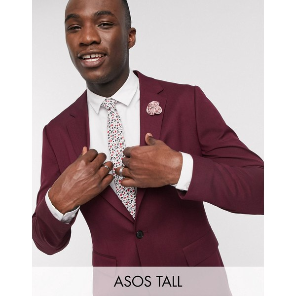 エイソス メンズ ジャケット&ブルゾン アウター ASOS DESIGN Tall wedding skinny suit jacket in burgundy Burgundy