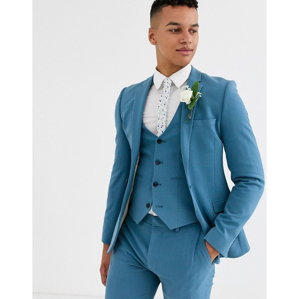 エイソス メンズ ジャケット&ブルゾン アウター ASOS DESIGN wedding super skinny suit jacket in dusky blue Blue