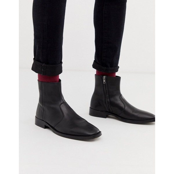 エイソス メンズ ブーツ&レインブーツ シューズ ASOS DESIGN chelsea boots in black leather with square toe Black