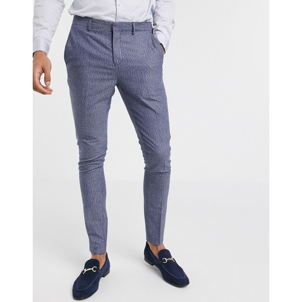 セレクテッドオム メンズ カジュアルパンツ ボトムス Selected Homme skinny fit stretch suit pants in blue fleck Dark navy