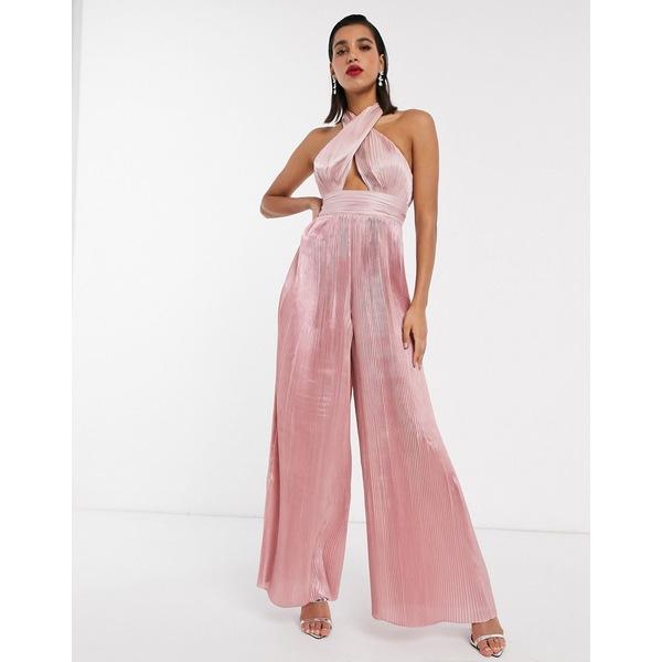 エイソス レディース ワンピース トップス ASOS EDITION pleat halter jumpsuit Pink