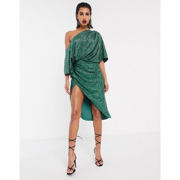 エイソス レディース ワンピース トップス ASOS EDITION drape asymmetric midi dress in sequin Green