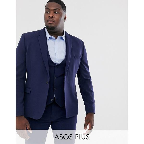 エイソス メンズ ジャケット&ブルゾン アウター ASOS DESIGN Plus super skinny fit suit jacket in navy Navy
