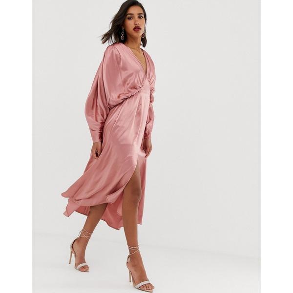 エイソス レディース ワンピース トップス ASOS EDITION ruched batwing midi dress in satin Dusty pink