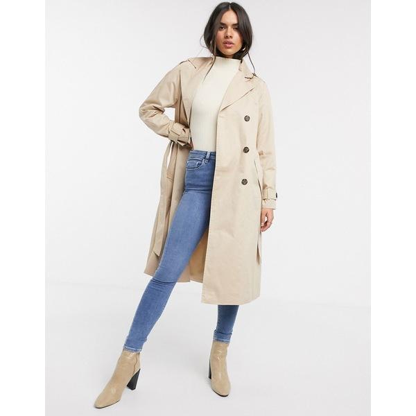 ヴェロモーダ レディース コート アウター Vero Moda classic trench coat in beige Beige