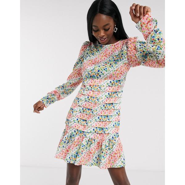 ネバーフリードレスド レディース ワンピース トップス Never Fully Dressed mini swing dress with pleated skirt detail in contrast scarf print Multi