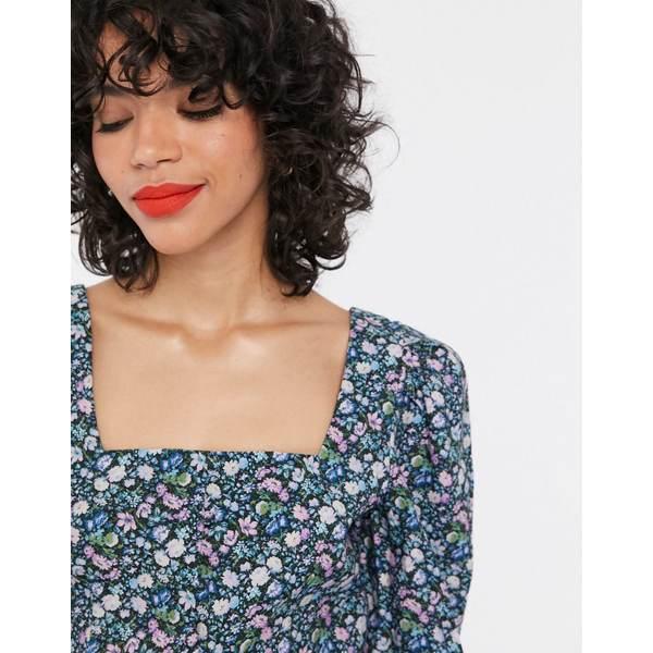アンドアザーストーリーズ レディース シャツ トップス & Other Stories bold floral puff sleeve blouse in multi Multi flower aop