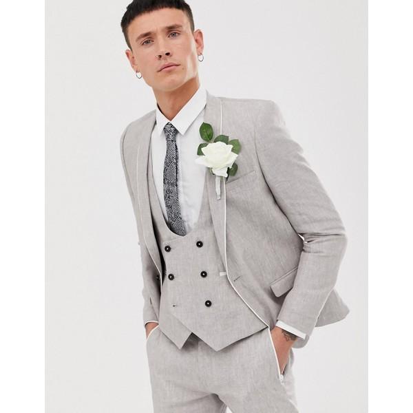 ツイステッドテイラー メンズ ジャケット&ブルゾン アウター Twisted Tailor Runner super skinny suit jacket in stone linen Stone