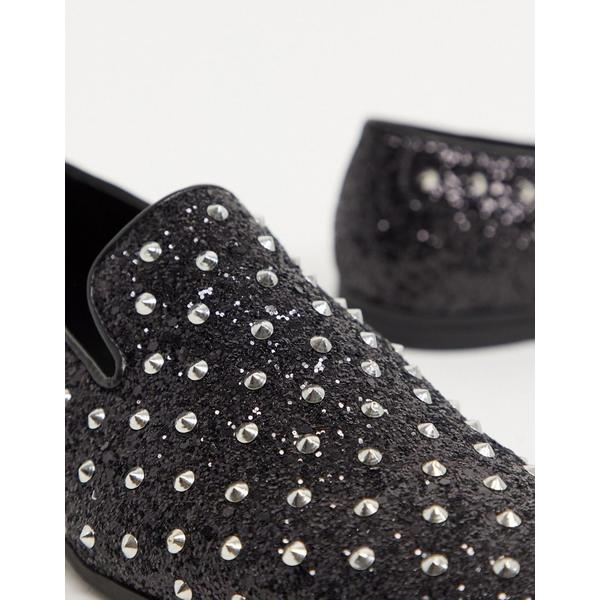 エイソス メンズ スリッポン・ローファー シューズ ASOS DESIGN loafers in black glitter with stud detail BlacknPO8w0kX