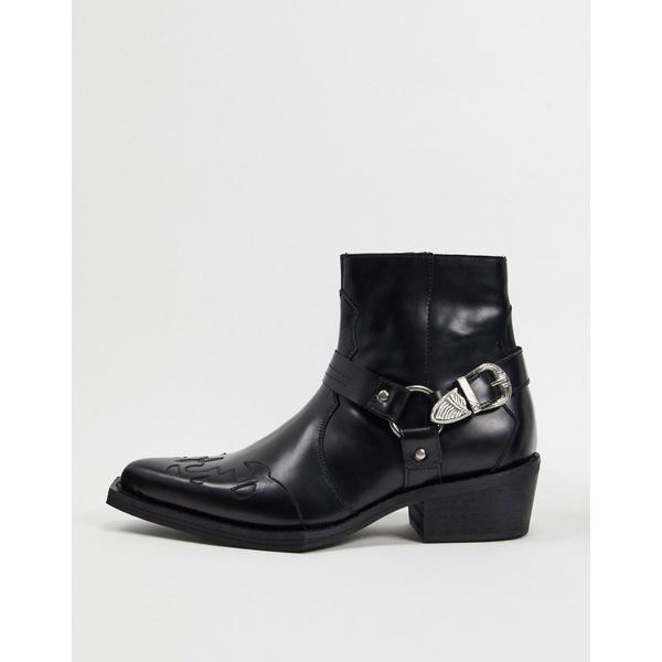 エイソス メンズ ブーツ&レインブーツ シューズ ASOS EDITION leather western cuban boot with square toe Black