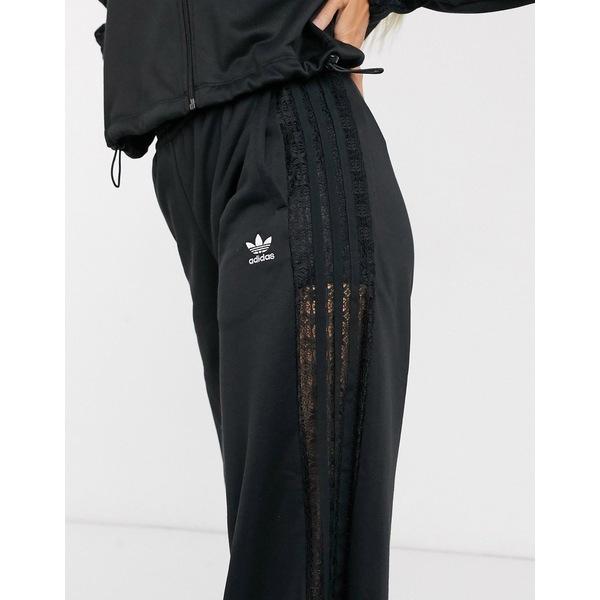 アディダスオリジナルス レディース カジュアルパンツ ボトムス adidas Originals Bellista lace insert wide leg pants in black Blackj5A3q4RL