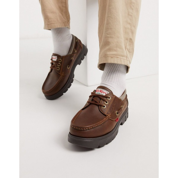 キッカーズ メンズ スニーカー シューズ Kickers lennon boat shoes in brown leather Brown