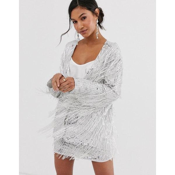 エイソス レディース ジャケット&ブルゾン アウター ASOS EDITION sequin fringe jacket Silver
