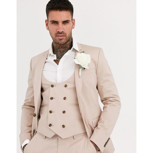 エイソス メンズ ジャケット&ブルゾン アウター ASOS DESIGN wedding super skinny suit jacket in stone stretch cotton Stone