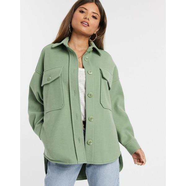 ストラディバリウス レディース コート アウター Stradivarius oversized shirt jacket in green Green
